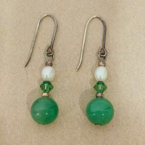 Vintage Green and White Beaded  Pierced Earrings